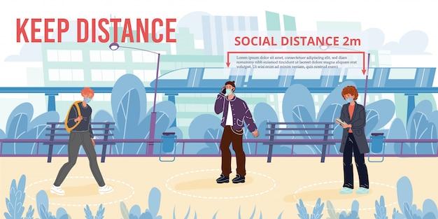Halten sie soziale distanz neue normale lebensmotivation