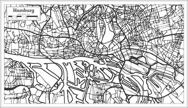 Hamburg deutschland stadtplan im retro-stil. übersichtskarte. vektor-illustration.