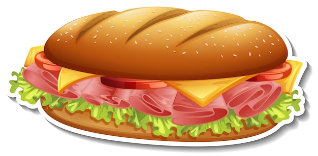 Hamburger-aufkleber auf weißem hintergrund