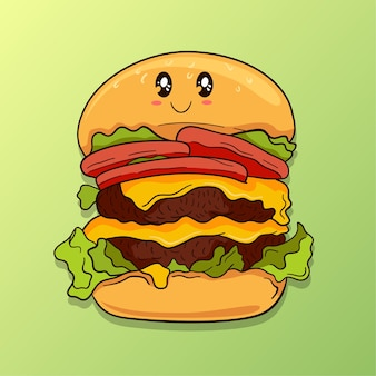 Hamburger charakter-design-illustration