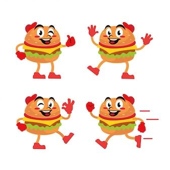 Hamburger charakter maskottchen aufkleber cartoon