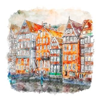 Hamburger deutschland aquarell skizze hand gezeichnete illustration