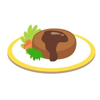 Hamburger flaches illustrationsdesign isoliert