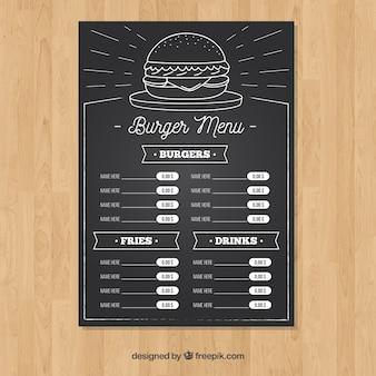 Hamburger menüvorlage in kreide-stil