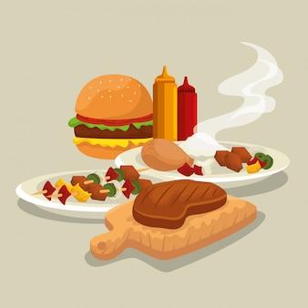 Hamburger mit oberschenkel und fleisch