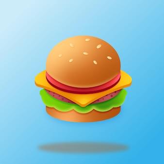 Hamburger mit sesam mit schatten in nahaufnahme auf blauem hintergrund, vektorgrafik