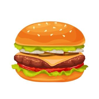 Hamburger oder cheeseburger karikaturikone