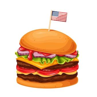 Hamburger oder cheeseburger mit amerikanischer flagge spießt cartoon-ikone auf