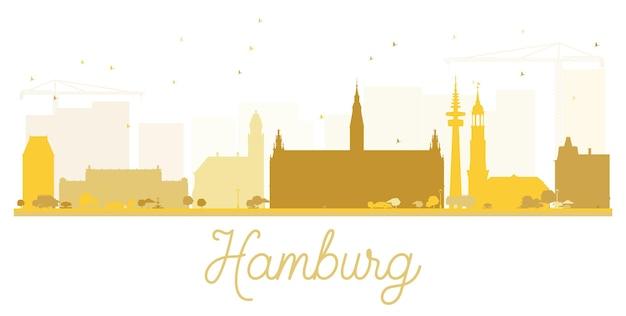 Hamburger skyline goldene silhouette. vektor-illustration. einfaches flaches konzept für tourismuspräsentation, banner, plakat oder website. geschäftsreisekonzept. stadtbild mit wahrzeichen