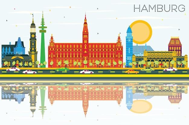 Hamburger skyline mit farbigen gebäuden, blauem himmel und reflexionen. vektor-illustration. geschäftsreise- und tourismuskonzept mit historischer architektur. hamburger stadtbild mit wahrzeichen.