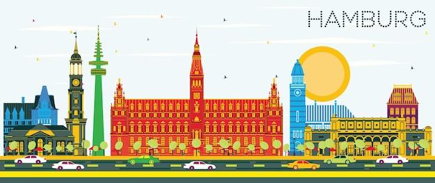 Hamburger skyline mit farbigen gebäuden und blauem himmel. vektor-illustration. geschäftsreise- und tourismuskonzept mit historischer architektur. hamburger stadtbild mit wahrzeichen.
