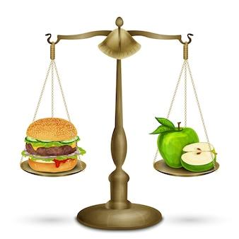 Hamburger und apfel auf schuppen