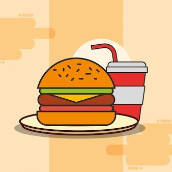 Hamburger und soda fast food auf teller
