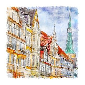 Hameln deutschland aquarell skizze hand gezeichnete illustration