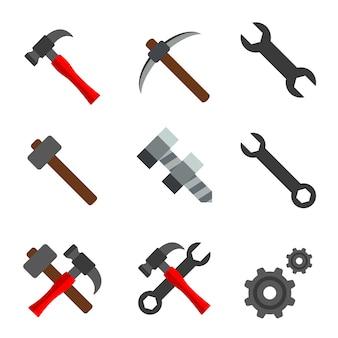 Hammer-schraubenschlüssel-zahnrad-element-ikonen-vektor