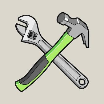 Hammer und schraubenschlüssel gekreuzte karikaturillustration