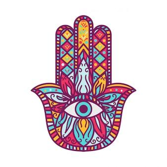 Hamsa, fatima handillustration. symmetrische handfläche mit augenzeichnungen. orientalisches schutzamulett