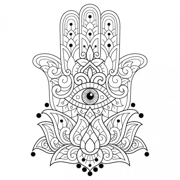 Hamsa. hand gezeichnete skizzenillustration für malbuch für erwachsene