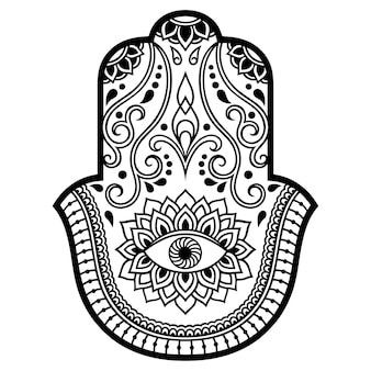 Hamsa hand gezeichnetes symbol mit blume.
