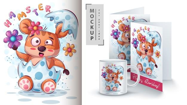 Hamster mit blumenplakat und merchandising