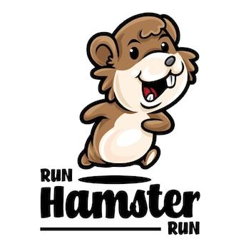 Hamster run maskottchen logo