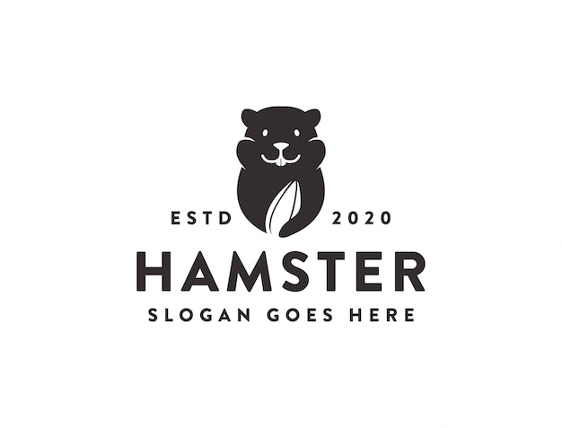 Hamster- und wassermelonensamen-nahrungsmittelsnack-logo-symbolschablone