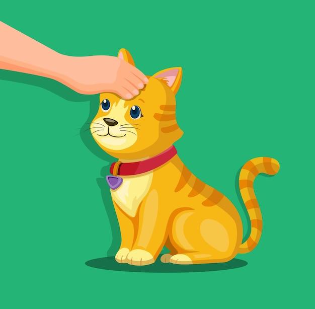 Hand auf kätzchenkopf. haustier tierpflege und liebessymbolkonzept in der karikaturillustration
