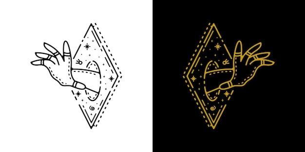 Hand aus dem quadratischen geometrischen tätowierungs-monoline-entwurf