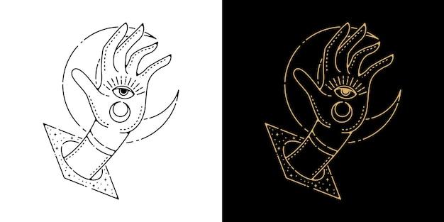 Hand aus platz mit mond tattoo monoline design
