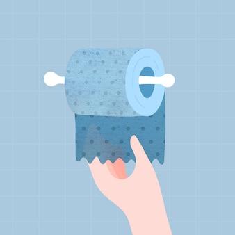 Hand bekommt ein blaues toilettenpapier toilet