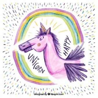 Hand bemalt einhorn mit regenbogen und farbige linien