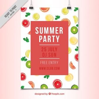 Hand bemalt früchte sommer-party-plakat