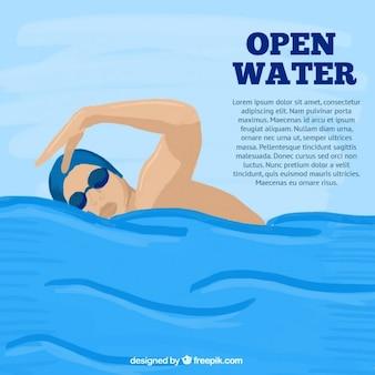 Hand bemalt schwimmer hintergrund