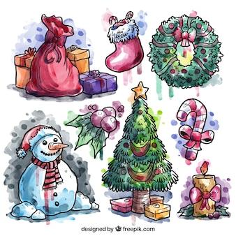 Hand bemalt weihnachten elemente sammlung