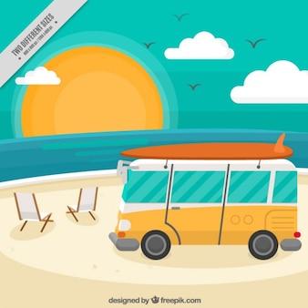 Hand bemalt wohnwagen am strand hintergrund