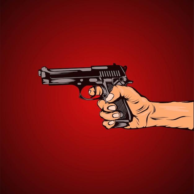 Hand bereit, eine waffe zu schießen