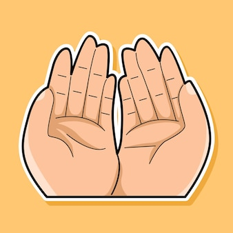 Hand beten cartoon-design