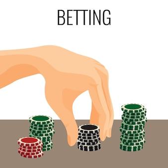 Hand bewegliche pokerchips lokalisiert auf weißem hintergrund