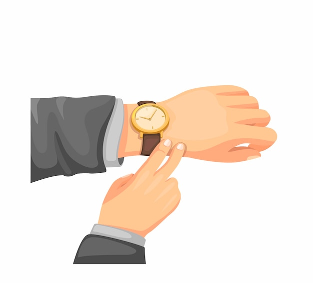 Hand check armbanduhr. büromann, der zur zeit im geschäft prüft. konzeptillustration im karikaturstil lokalisiert auf weißem hintergrund