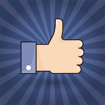 Hand daumen symbol flach