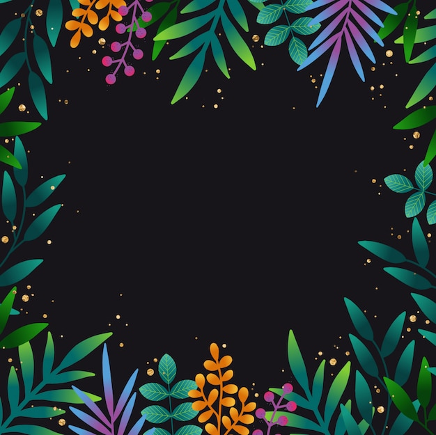 Hand dawn tropical leaves background