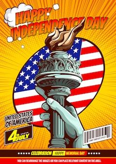 Hand der freiheitsstatue, unabhängigkeitstag, comic-cover-vorlage auf gelbem hintergrund.