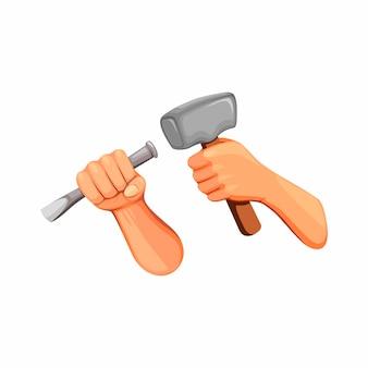 Hand, der hammer und meißelkonzept im karikatur lokalisiert auf weißem hintergrund hält