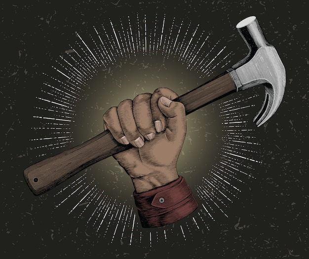 Hand, der hammerillustrationsweinlese für zimmermannslogo hält