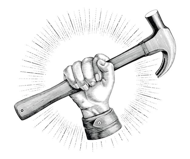 Hand, der hammerillustrationsweinlese für zimmermannslogo lokalisiert auf weißem hintergrund hält