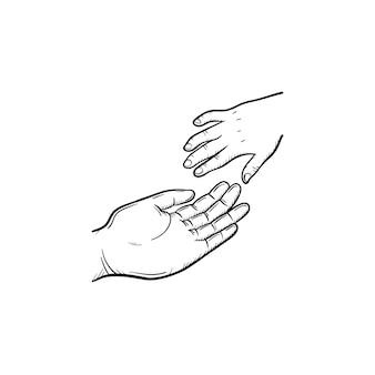 Hand der hilfe hand gezeichnete umriss-doodle-symbol