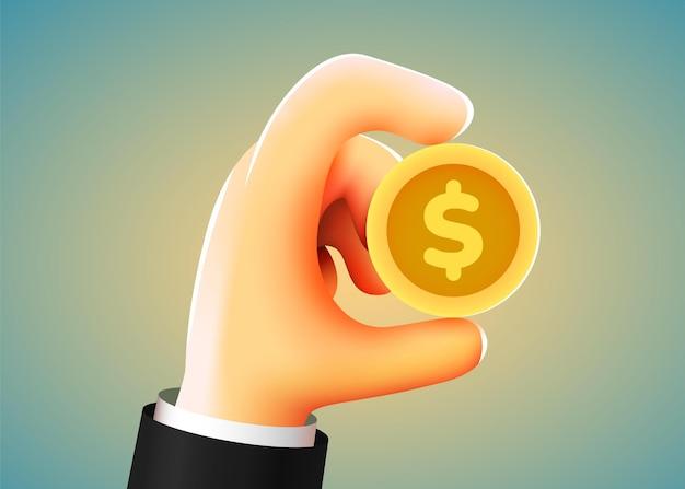 Hand der karikatur 3d, die goldene dollarmünze hält