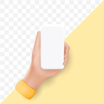 Hand der karikatur 3d, die smartphone hält.