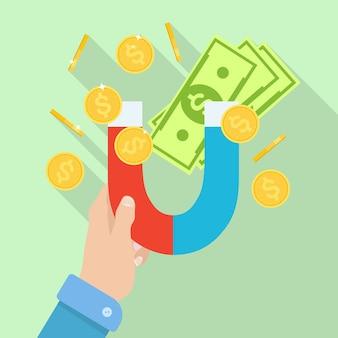 Hand, der magneten mit geld, münzen hält. attraktion bargeld.