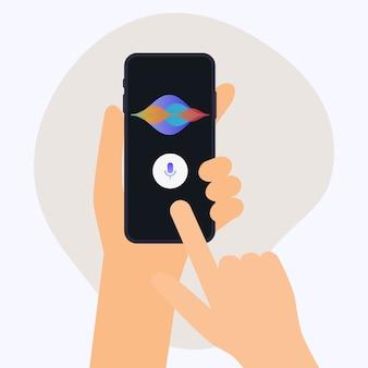 Hand, der mobiles smartphone mit digitalem sprachassistenten hält